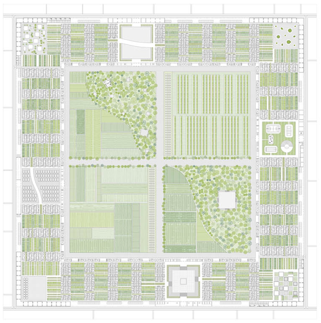 Ground Plan. The Outer Frame consists of industrial program and infrastructure. The Middle frame contains 550 single family units and the neighborhood gardens. The Inner Frame houses 270 collective units along with 4 six-story towers brings the total number of housing units in the project to 1,000.
