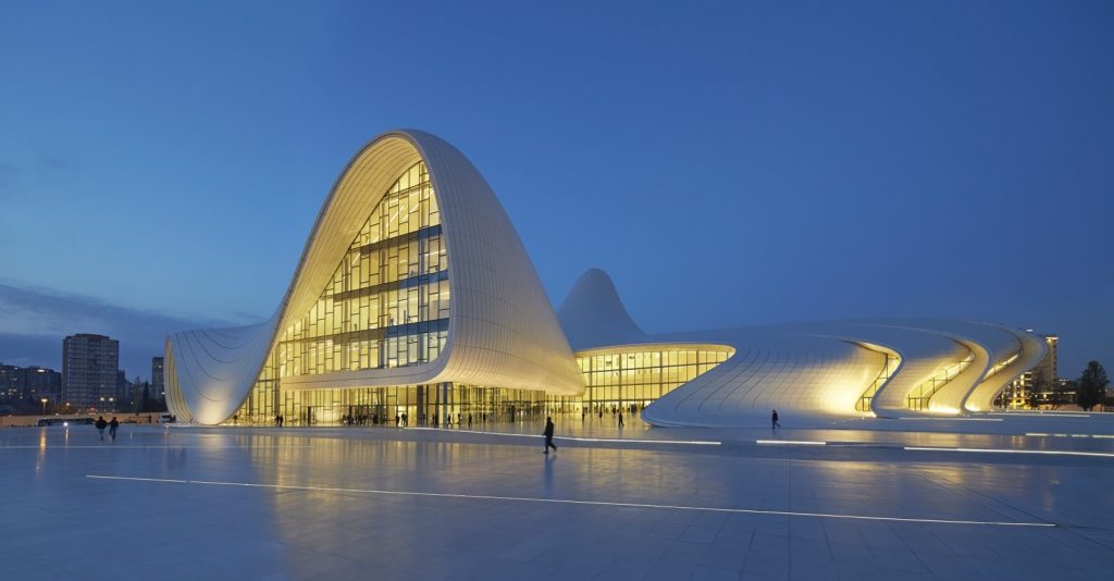 The Heydar Aliyev Center in Baku, Azerbaijan (Zaha Hadid Architects). Photo by Hufton Crow.